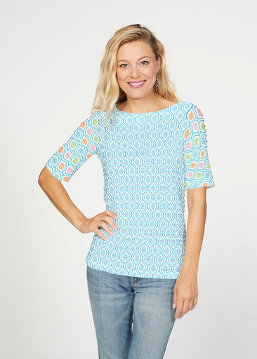 Waves of Sherbet (25072) ~ Banded Elbow Sleeve Boat Neck Top