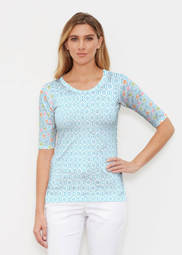 Waves of Sherbet (25072) ~ Elbow Sleeve Crew Shirt
