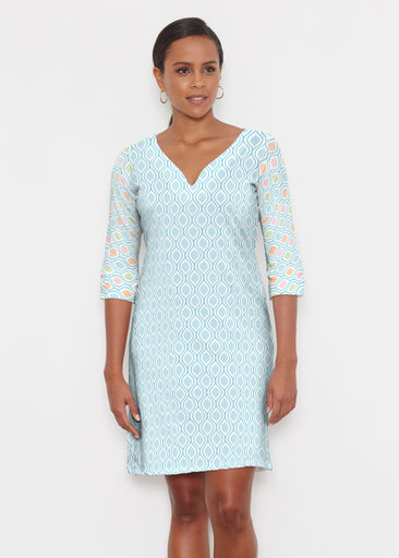 Waves of Sherbet (25072) ~ Classic 3/4 Sleeve Sweet Heart V-Neck Dress