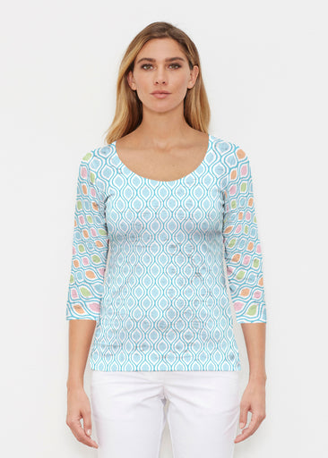 Waves of Sherbet (25072) ~ Signature 3/4 Sleeve Scoop Shirt