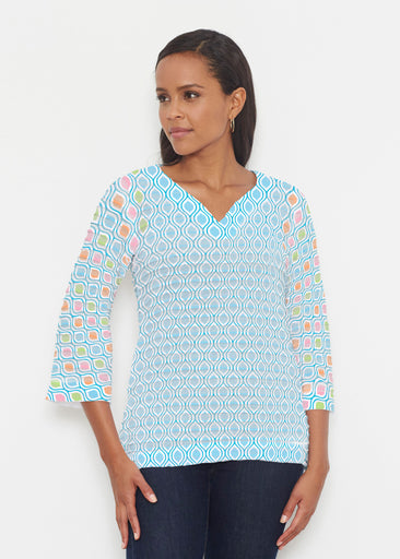 Waves of Sherbet (25072) ~ Banded 3/4 Bell-Sleeve V-Neck Tunic