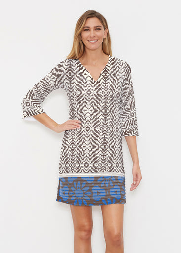 Imprint Blue (2744) ~ Banded 3/4 Sleeve Cover-up Dress