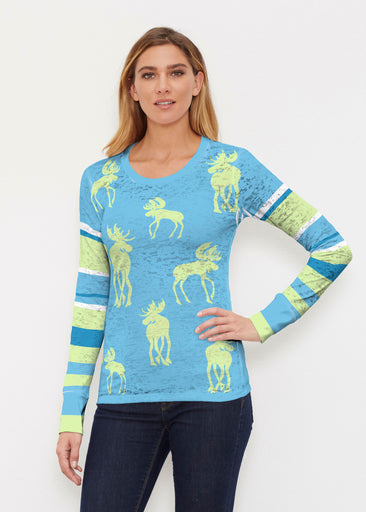 Moose Sky Blue (2781) ~ Thermal Long Sleeve Crew Shirt