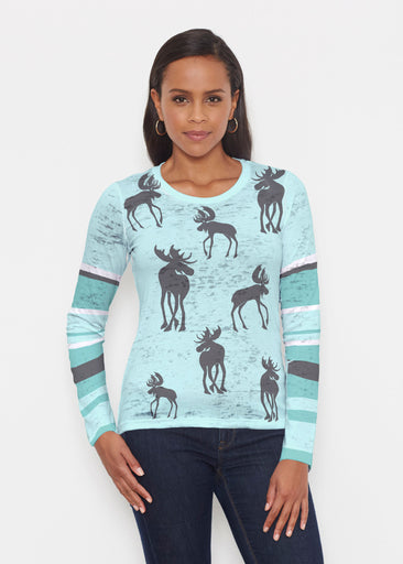Moose Turquoise (2784) ~ Signature Long Sleeve Crew Shirt