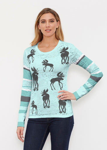 Moose Turquoise (2784) ~ Thermal Long Sleeve Crew Shirt
