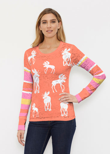 Moose Orange (2785) ~ Thermal Long Sleeve Crew Shirt