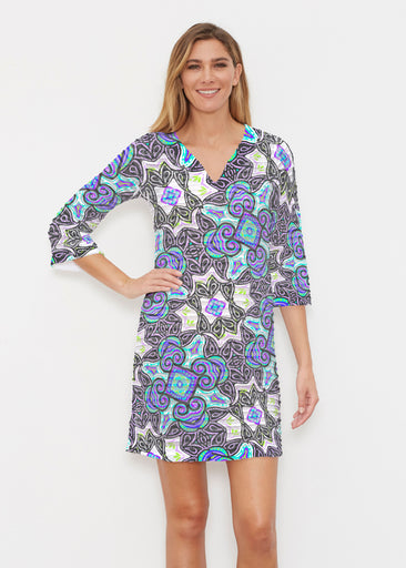 Bayou Black (2827) ~ Banded 3/4 Sleeve Cover-up Dress