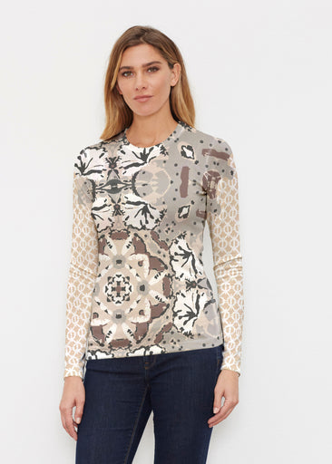 Eden Brown (2847) ~ Sweaterknit Long Sleeve Crew Top