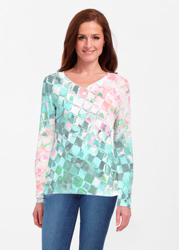 Crackle Teal (2852) ~ Classic V-neck Long Sleeve Top