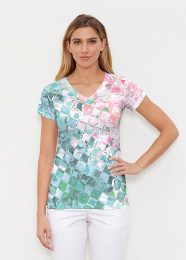 Crackle Teal (2852) ~ Signature Cap Sleeve V-Neck Shirt