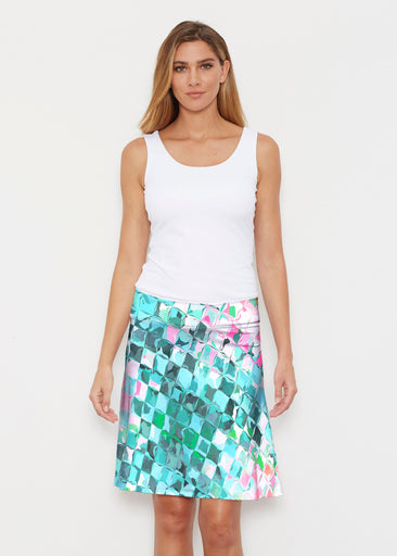 Crackle Teal (2852) ~ Silky Brenda Skirt 21 inch