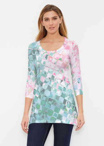 Crackle Teal (2852) ~ Buttersoft 3/4 Sleeve Tunic