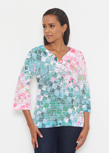 Crackle Teal (2852) ~ Banded 3/4 Bell-Sleeve V-Neck Tunic