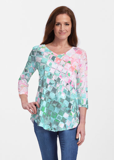 Crackle Teal (2852) ~ V-neck Flowy Tunic