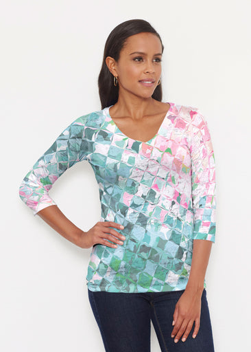 Crackle Teal (2852) ~ Signature 3/4 V-Neck Shirt
