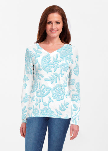 Gloria Blue (2866) ~ Classic V-neck Long Sleeve Top
