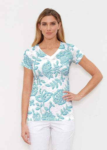 Gloria Blue (2866) ~ Signature Cap Sleeve V-Neck Shirt