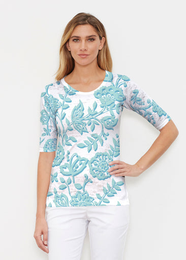 Gloria Blue (2866) ~ Elbow Sleeve Crew Shirt