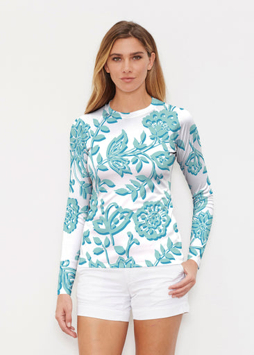 Gloria Blue (2866) ~ Long Sleeve Rash Guard