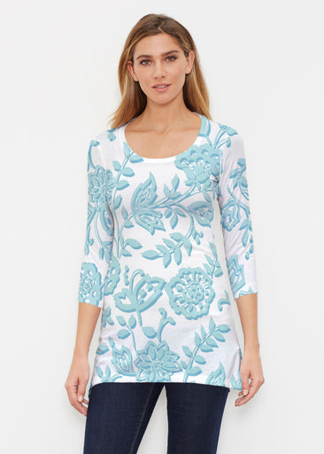 Gloria Blue (2866) ~ Buttersoft 3/4 Sleeve Tunic