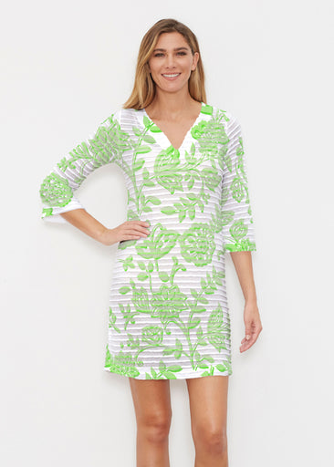 Gloria Green (2868) ~ Banded 3/4 Sleeve Cover-up Dress