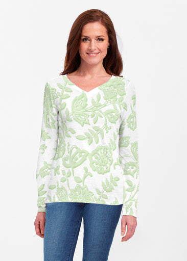 Gloria Green (2868) ~ Classic V-neck Long Sleeve Top