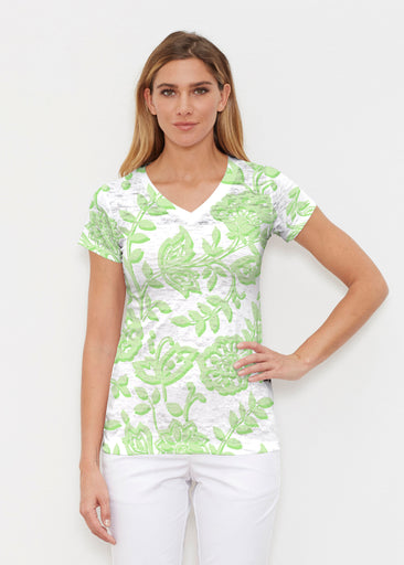 Gloria Green (2868) ~ Signature Cap Sleeve V-Neck Shirt