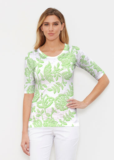 Gloria Green (2868) ~ Elbow Sleeve Crew Shirt
