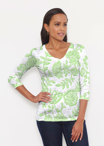 Gloria Green (2868) ~ Signature 3/4 V-Neck Shirt