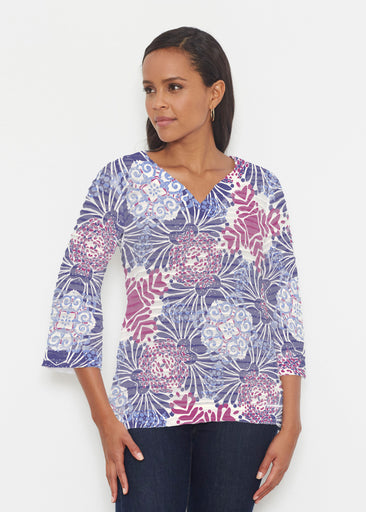 Garden Jewel Purple (2891) ~ Banded 3/4 Bell-Sleeve V-Neck Tunic