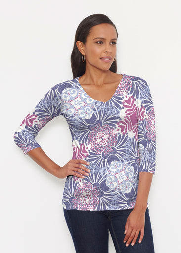 Garden Jewel Purple (2891) ~ Signature 3/4 V-Neck Shirt