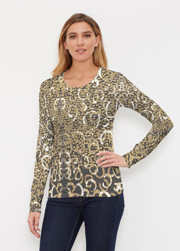Glitzy Black (3789) ~ Thermal Long Sleeve Crew Shirt