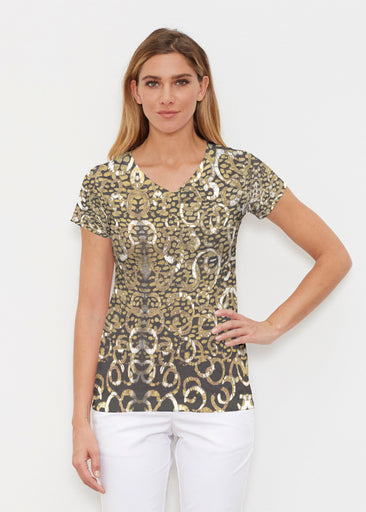 Glitzy Black (3789) ~ Signature Cap Sleeve V-Neck Shirt