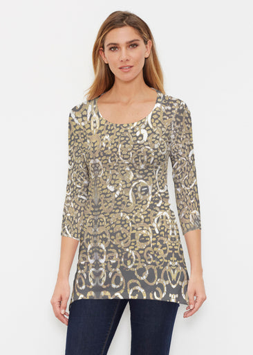 Glitzy Black (3789) ~ Buttersoft 3/4 Sleeve Tunic
