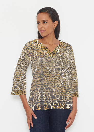 Glitzy Black (3789) ~ Banded 3/4 Bell-Sleeve V-Neck Tunic