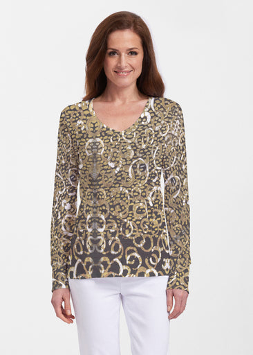 Glitzy Black (3789) ~ Thermal Long Sleeve V-Neck Shirt