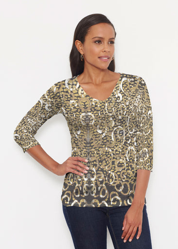 Glitzy Black (3789) ~ Signature 3/4 V-Neck Shirt