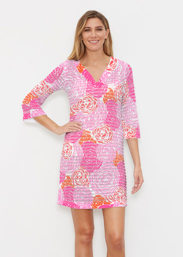 Chrysanthemum Pink (4074) ~ Banded 3/4 Sleeve Cover-up Dress
