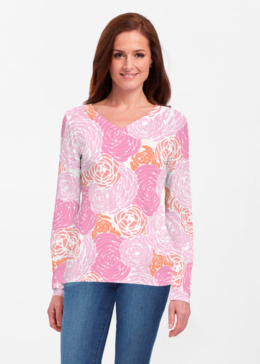 Chrysanthemum Pink (4074) ~ Classic V-neck Long Sleeve Top