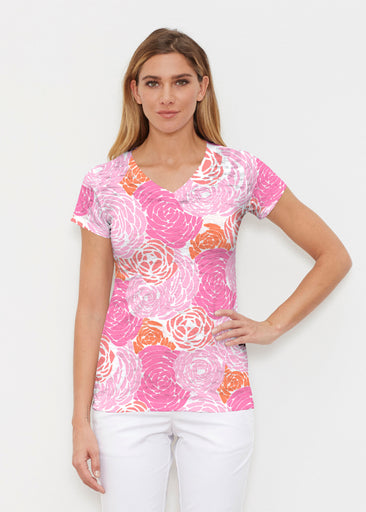 Chrysanthemum Pink (4074) ~ Signature Cap Sleeve V-Neck Shirt