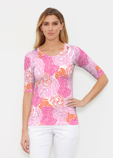 Chrysanthemum Pink (4074) ~ Elbow Sleeve Crew Shirt