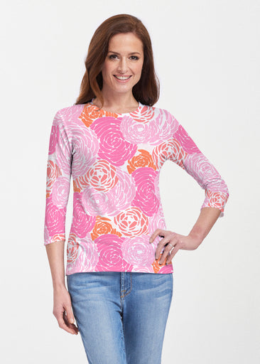 Chrysanthemum Pink (4074) ~ 3/4 Sleeve Crew