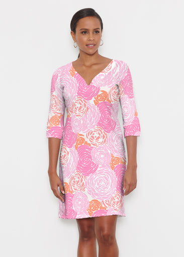 Chrysanthemum Pink (4074) ~ Classic 3/4 Sleeve Sweet Heart V-Neck Dress