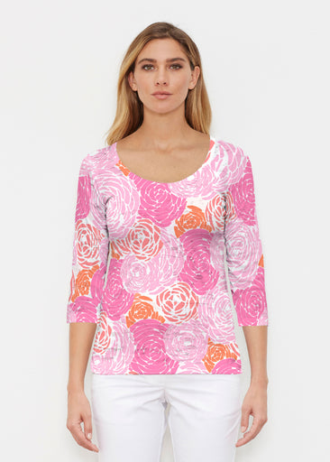 Chrysanthemum Pink (4074) ~ Signature 3/4 Sleeve Scoop Shirt