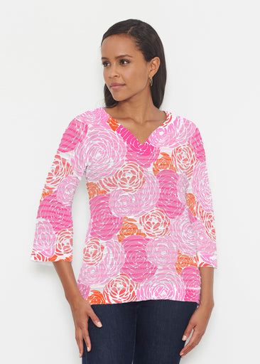 Chrysanthemum Pink (4074) ~ Banded 3/4 Bell-Sleeve V-Neck Tunic