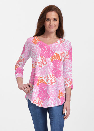 Chrysanthemum Pink (4074) ~ Signature V-neck Flowy Tunic