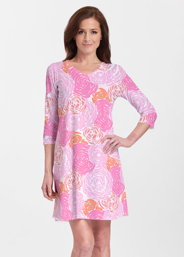 Chrysanthemum Pink (4074) ~ V-neck Swing Dress