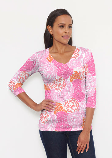 Chrysanthemum Pink (4074) ~ Signature 3/4 V-Neck Shirt