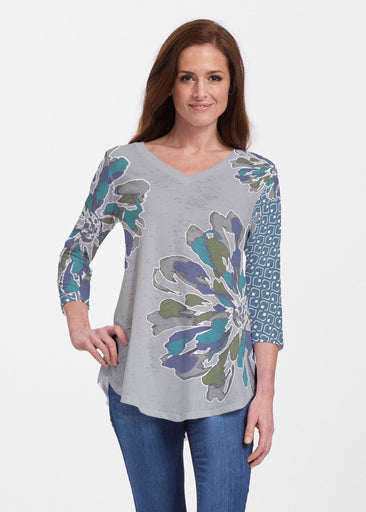 Fanny Grey Mixed (5148) ~ V-neck Flowy Tunic