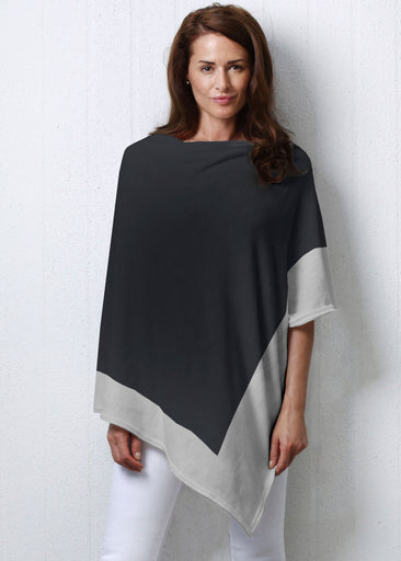 Black-Grey (5163) ~ Slub Poncho
